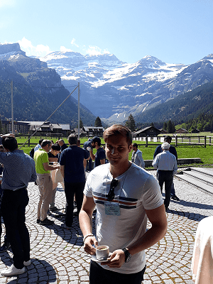 Kevin auf der Gordon Research Conference in Les Diablerets, Schweiz